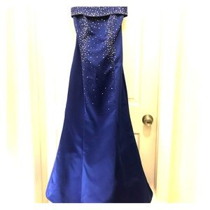 Zum Zum Size 5 Strapless Blue Satin Dress